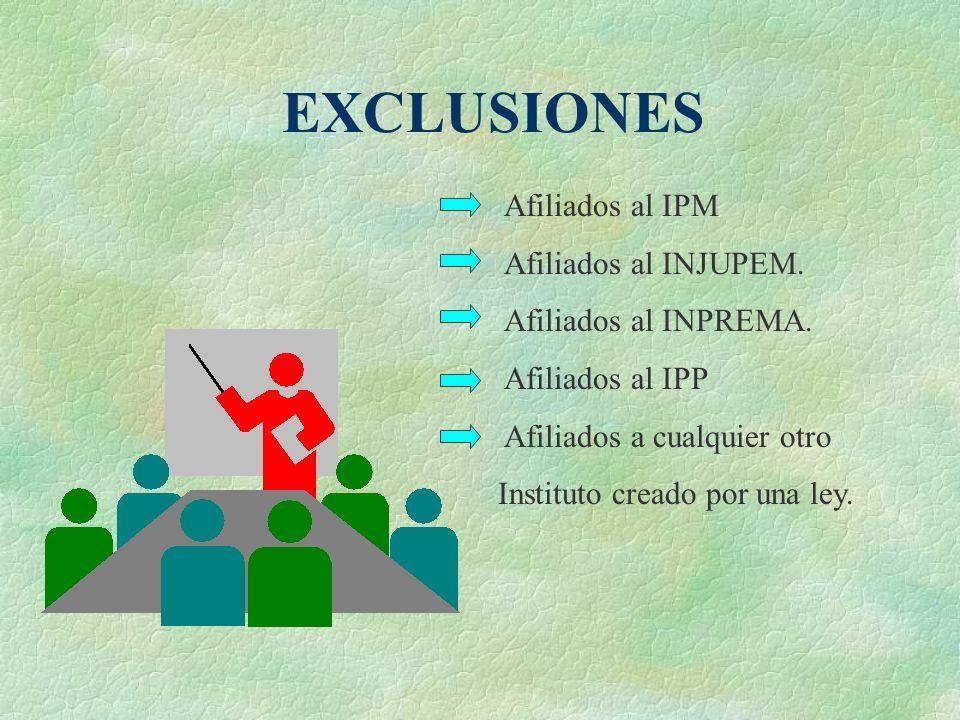 EXCLUSIONES Afiliados al IPM Afiliados al INJUPEM.