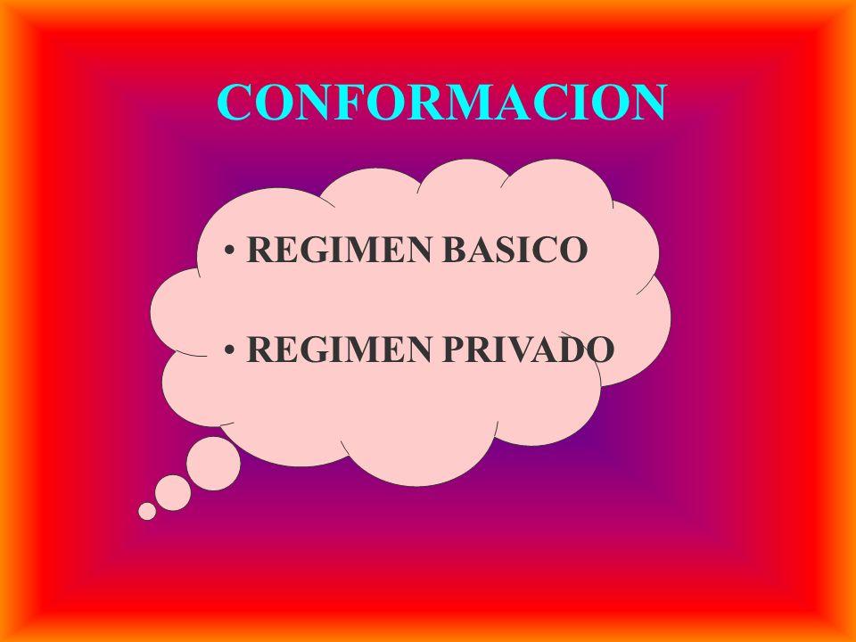 CONFORMACION REGIMEN BASICO REGIMEN PRIVADO