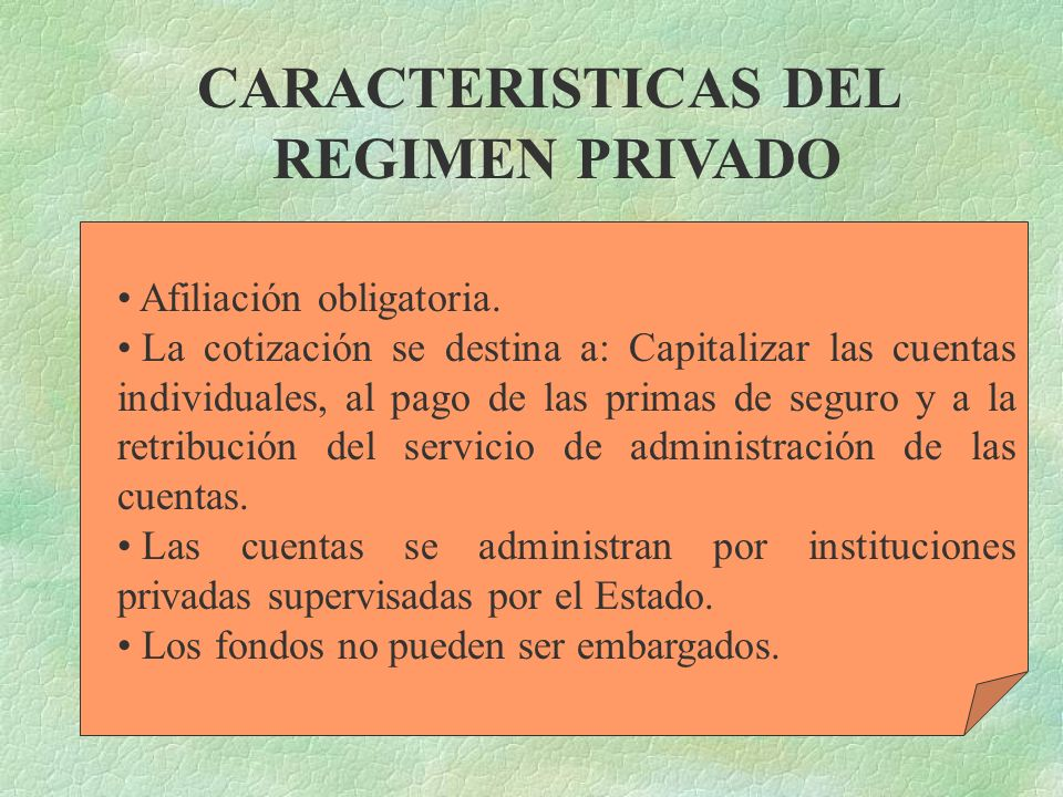 CARACTERISTICAS DEL REGIMEN PRIVADO