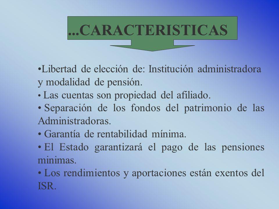 ...CARACTERISTICAS Libertad de elección de: Institución administradora y modalidad de pensión. Las cuentas son propiedad del afiliado.