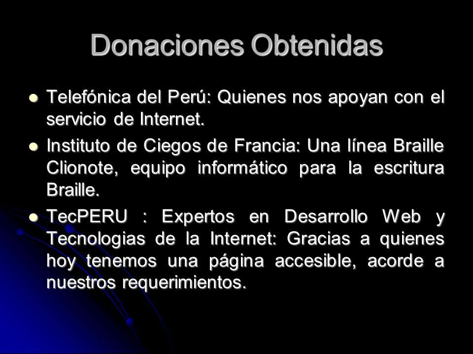 Donaciones ObtenidasTelefónica del Perú: Quienes nos apoyan con el servicio de Internet.