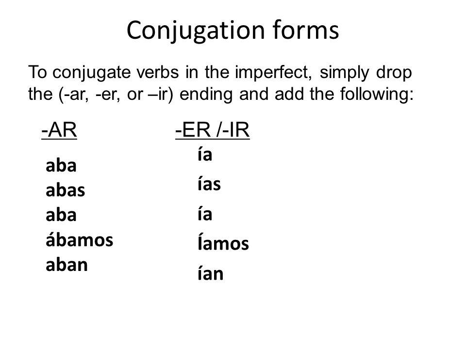 Conjugation forms -AR -ER /-IR ía ías Íamos ían