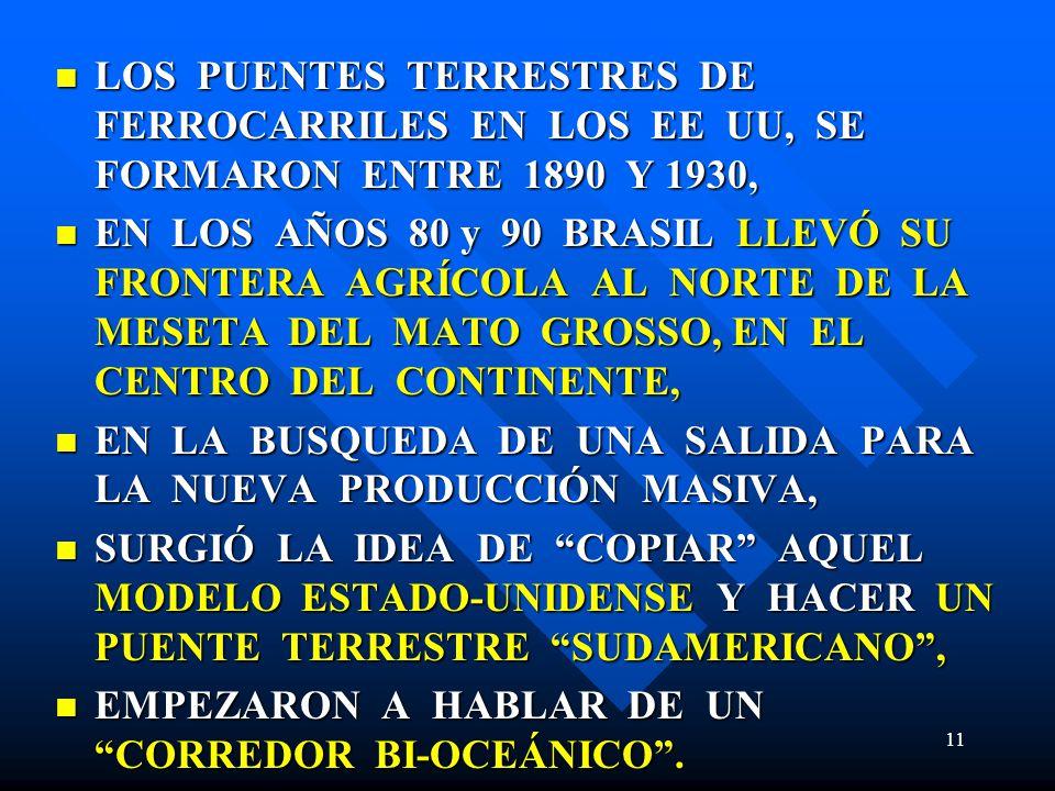 LOS PUENTES TERRESTRES DE FERROCARRILES EN LOS EE UU, SE FORMARON ENTRE 1890 Y 1930,