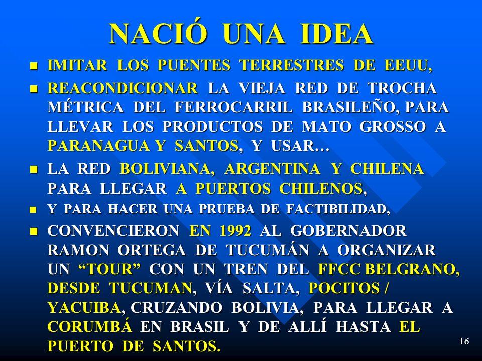 NACIÓ UNA IDEA IMITAR LOS PUENTES TERRESTRES DE EEUU,