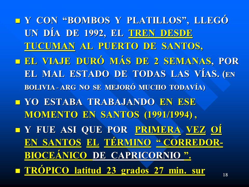 Y CON BOMBOS Y PLATILLOS , LLEGÓ UN DÍA DE 1992, EL TREN DESDE TUCUMAN AL PUERTO DE SANTOS,