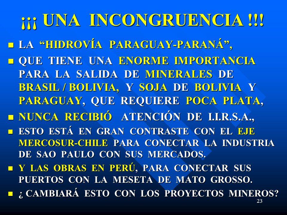 ¡¡¡ UNA INCONGRUENCIA !!! LA HIDROVÍA PARAGUAY-PARANÁ ,
