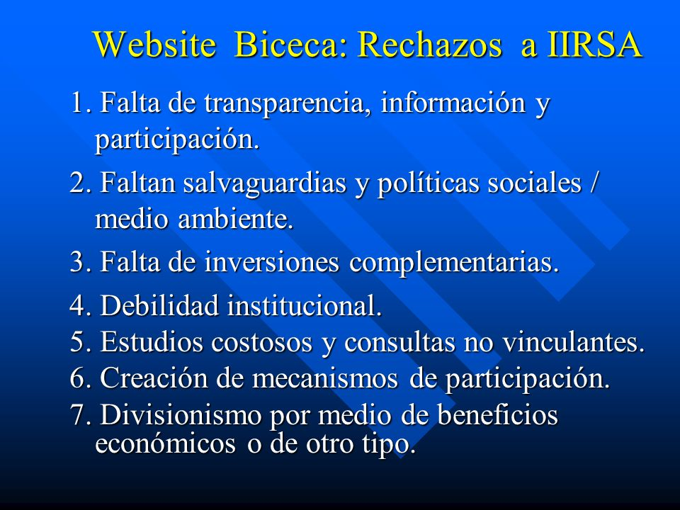 Website Biceca: Rechazos a IIRSA