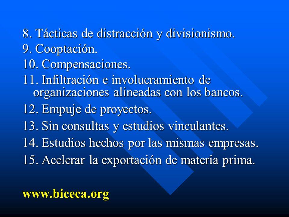 8. Tácticas de distracción y divisionismo.