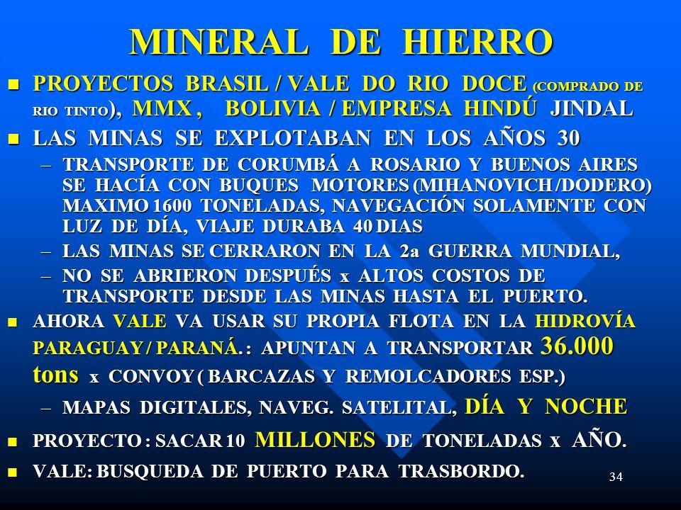 MINERAL DE HIERRO PROYECTOS BRASIL / VALE DO RIO DOCE (COMPRADO DE RIO TINTO), MMX , BOLIVIA / EMPRESA HINDÚ JINDAL.