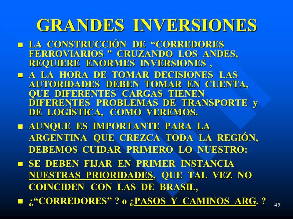 GRANDES INVERSIONES LA CONSTRUCCIÓN DE CORREDORES FERROVIARIOS CRUZANDO LOS ANDES, REQUIERE ENORMES INVERSIONES ,