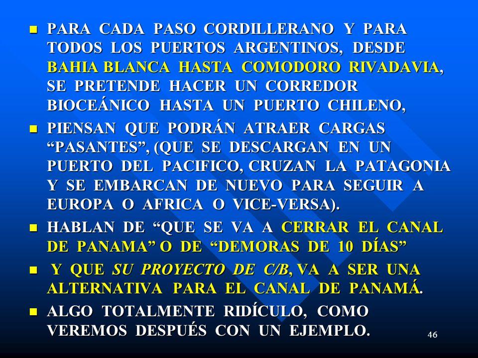 PARA CADA PASO CORDILLERANO Y PARA TODOS LOS PUERTOS ARGENTINOS, DESDE BAHIA BLANCA HASTA COMODORO RIVADAVIA, SE PRETENDE HACER UN CORREDOR BIOCEÁNICO HASTA UN PUERTO CHILENO,