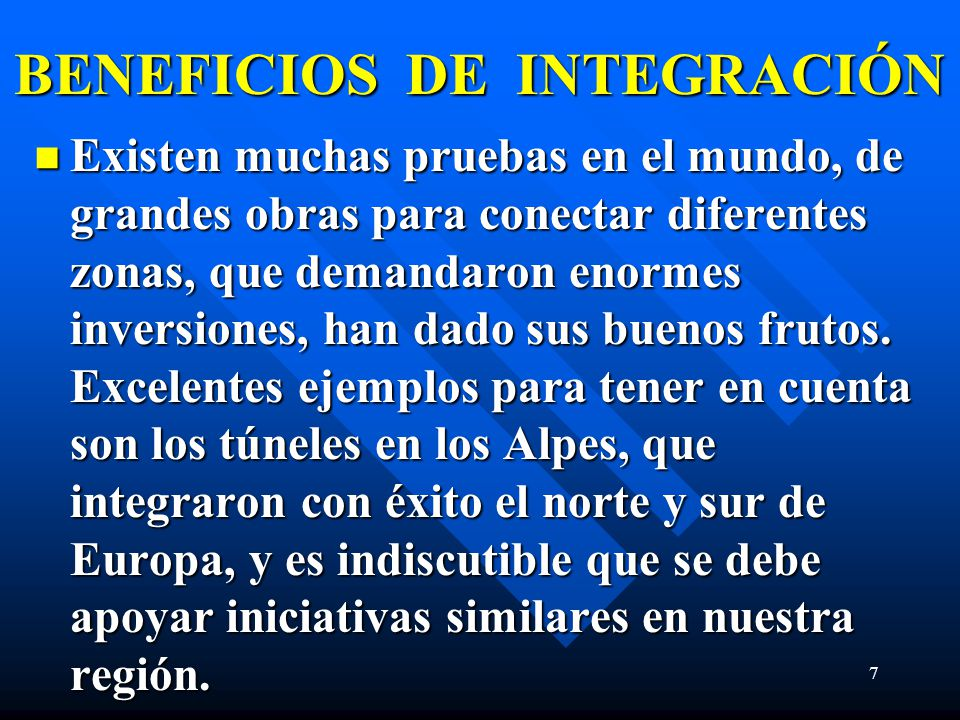 BENEFICIOS DE INTEGRACIÓN