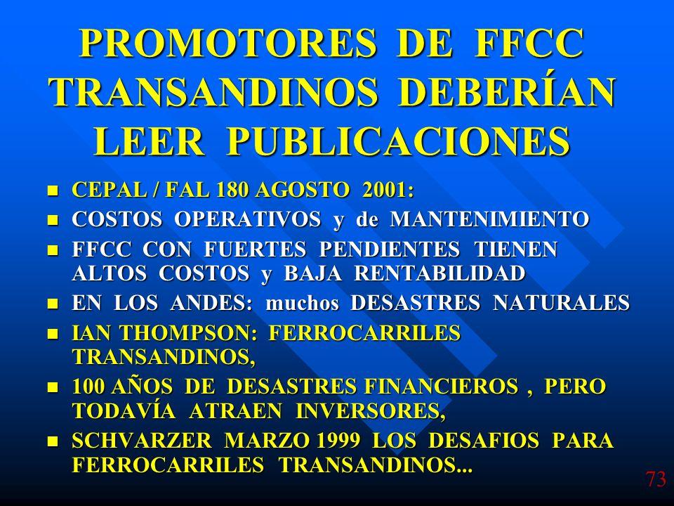 PROMOTORES DE FFCC TRANSANDINOS DEBERÍAN LEER PUBLICACIONES