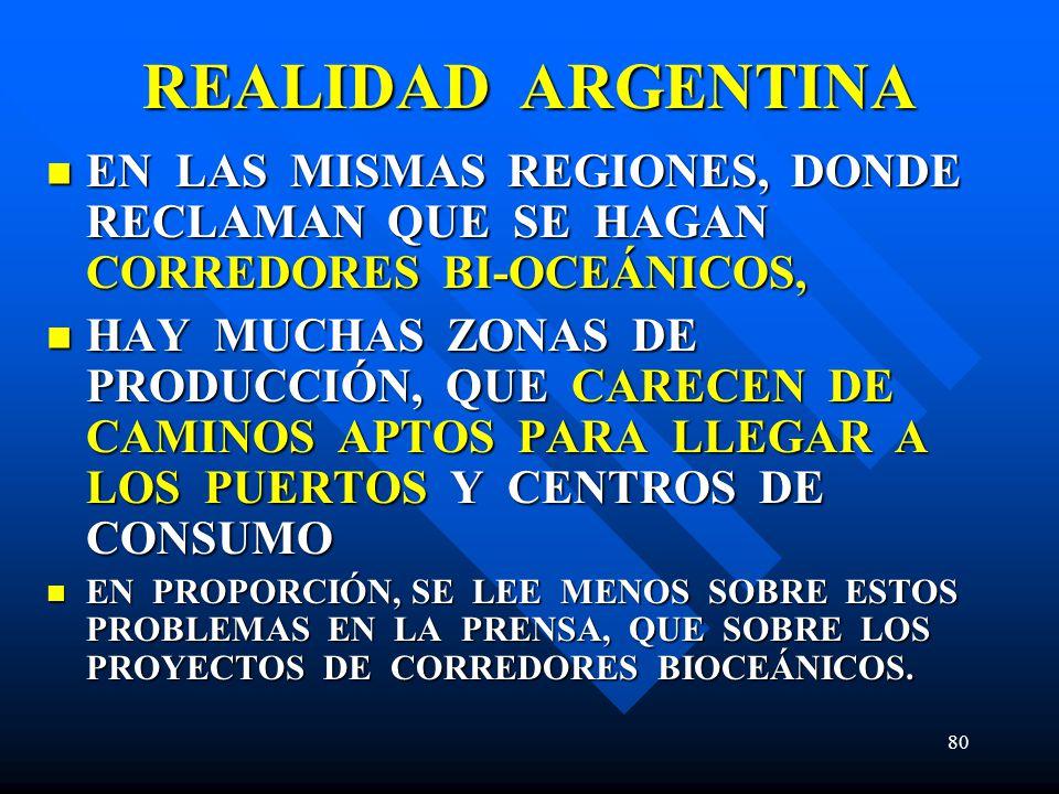 REALIDAD ARGENTINA EN LAS MISMAS REGIONES, DONDE RECLAMAN QUE SE HAGAN CORREDORES BI-OCEÁNICOS,