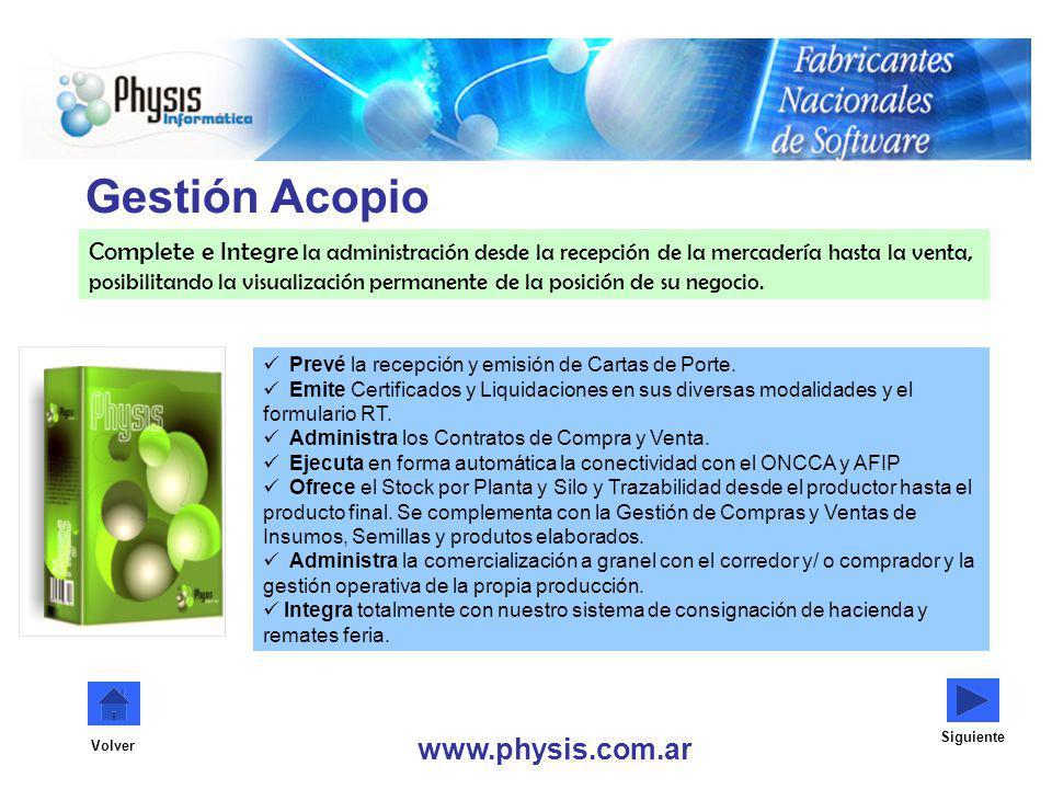 Gestión Acopio www.physis.com.ar