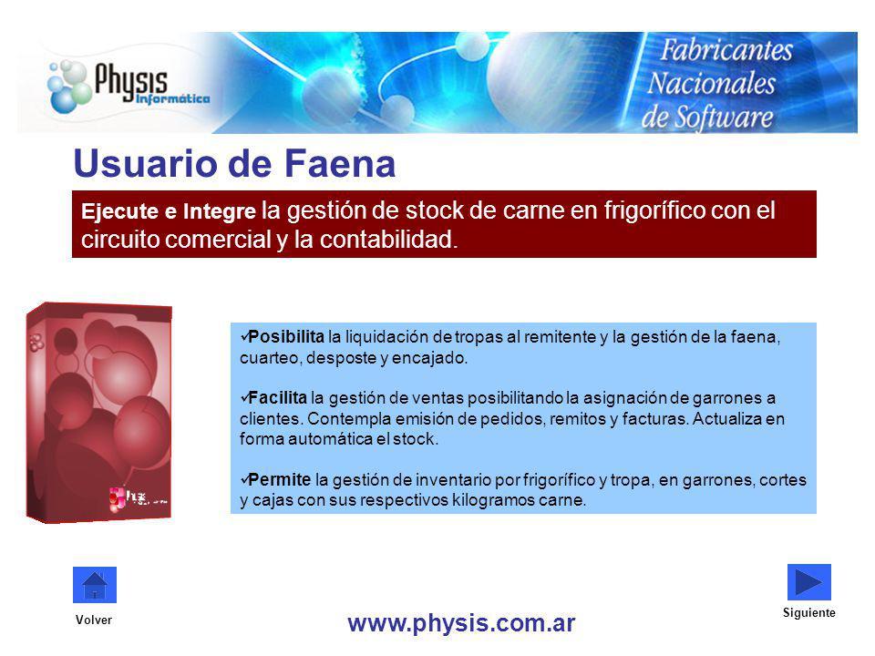 Usuario de Faena circuito comercial y la contabilidad.