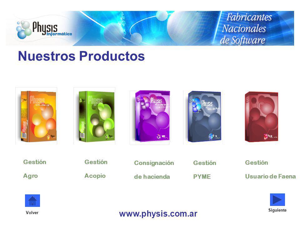 Nuestros Productos www.physis.com.ar Gestión Agro Gestión Acopio