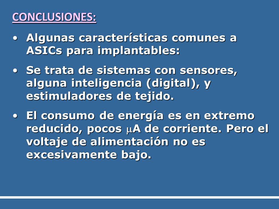 CONCLUSIONES: Algunas características comunes a ASICs para implantables: