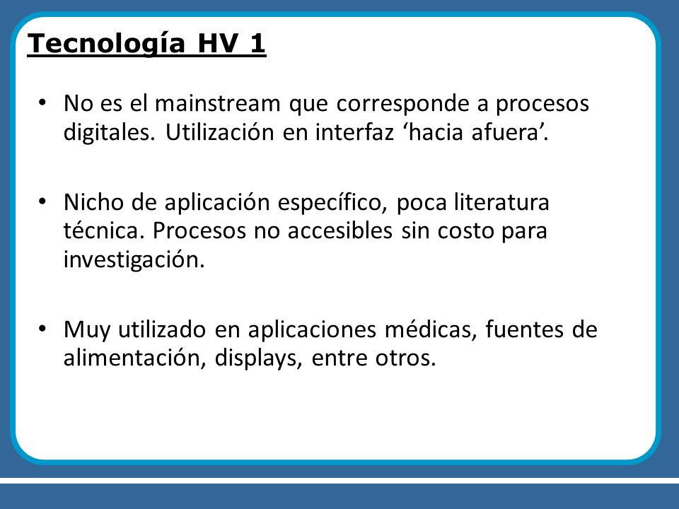Tecnología HV 1 No es el mainstream que corresponde a procesos digitales. Utilización en interfaz 'hacia afuera'.