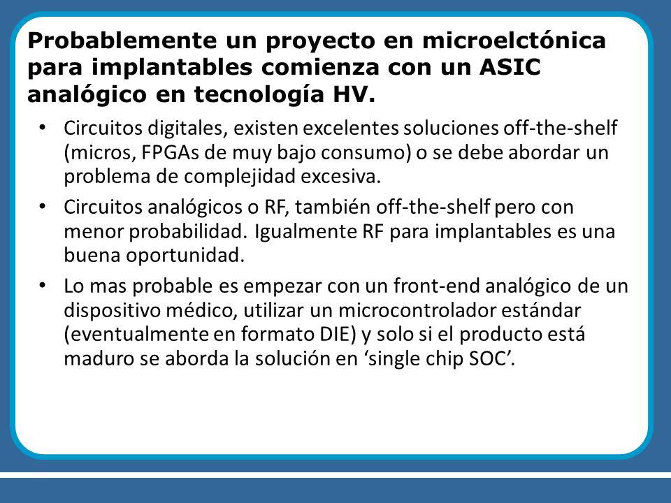 Probablemente un proyecto en microelctónica para implantables comienza con un ASIC analógico en tecnología HV.