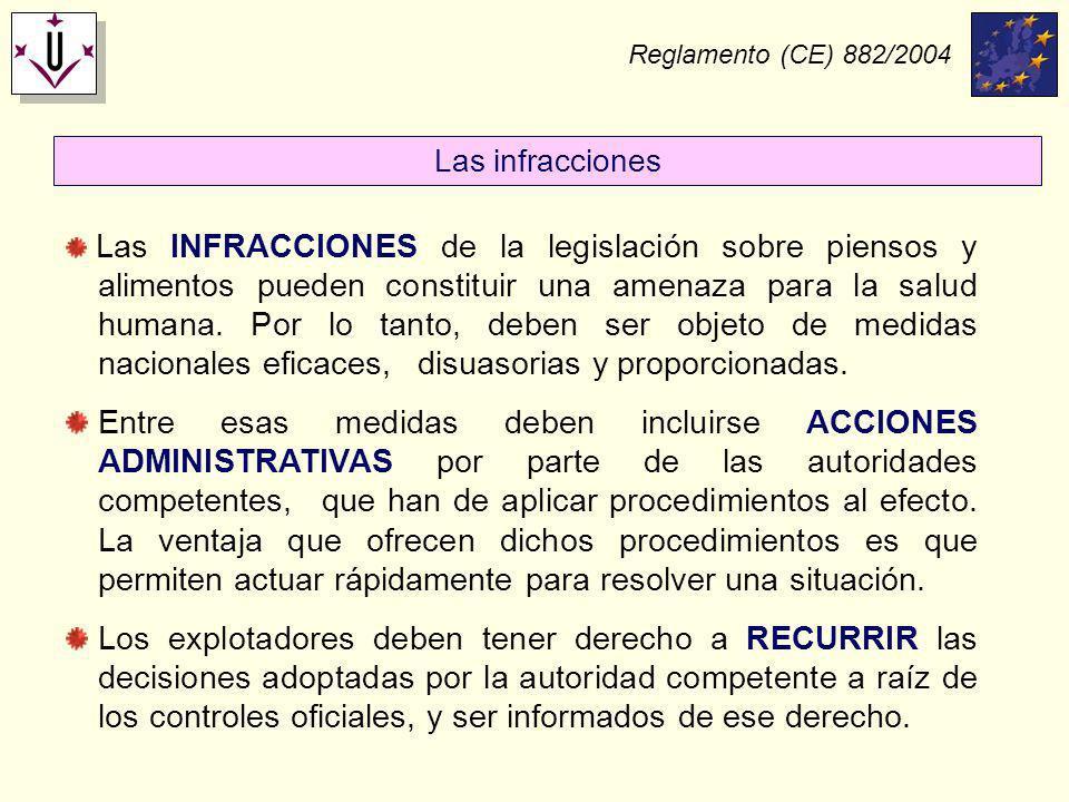 Reglamento (CE) 882/2004 Las infracciones.