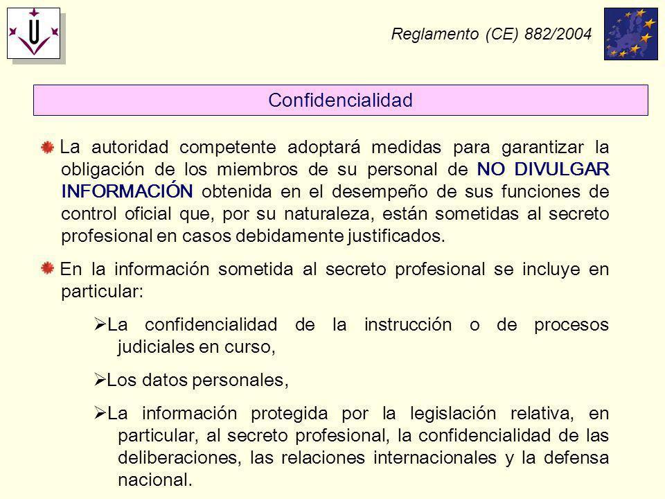 Reglamento (CE) 882/2004 Confidencialidad.
