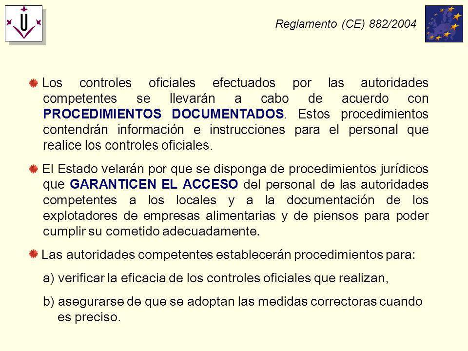 Las autoridades competentes establecerán procedimientos para: