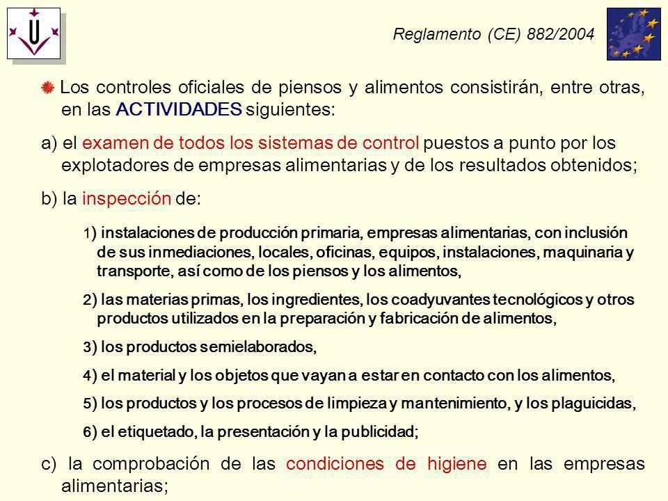 Reglamento (CE) 882/2004 Los controles oficiales de piensos y alimentos consistirán, entre otras, en las ACTIVIDADES siguientes: