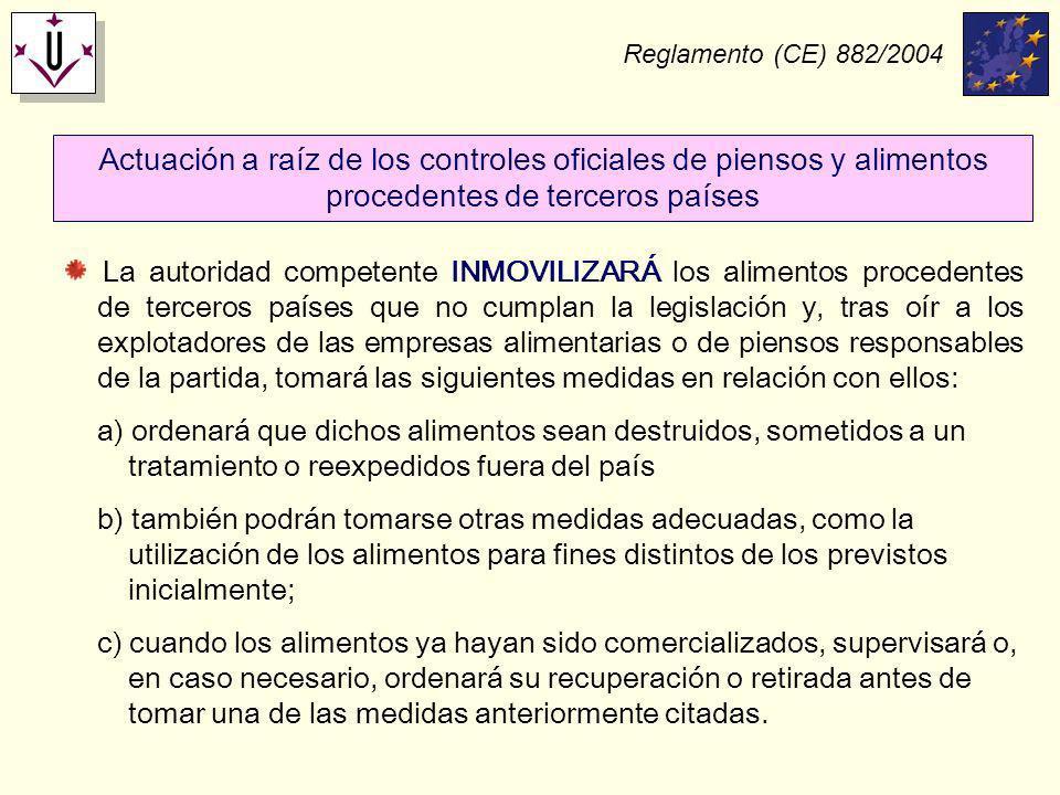 Reglamento (CE) 882/2004 Actuación a raíz de los controles oficiales de piensos y alimentos procedentes de terceros países.