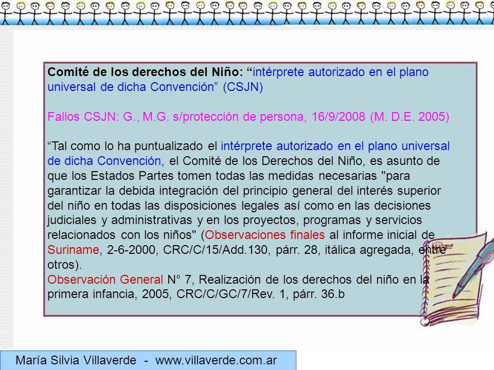 Comité de los derechos del Niño: intérprete autorizado en el plano universal de dicha Convención (CSJN)