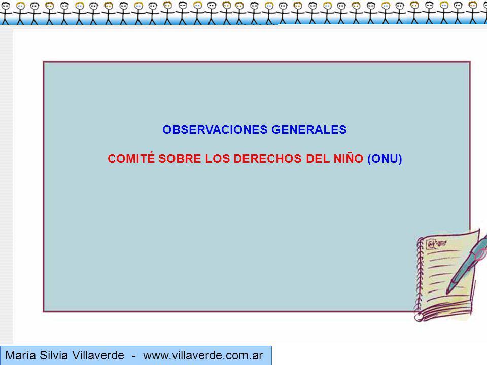 OBSERVACIONES GENERALES COMITÉ SOBRE LOS DERECHOS DEL NIÑO (ONU)