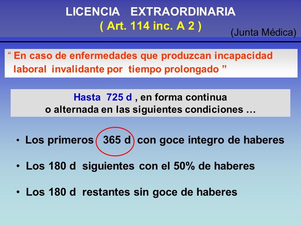 LICENCIA EXTRAORDINARIA ( Art. 114 inc. A 2 )