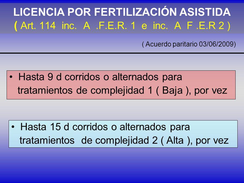 LICENCIA POR FERTILIZACIÓN ASISTIDA ( Art. 114 inc. A .F.E.R. 1 e inc. A F .E.R 2 )