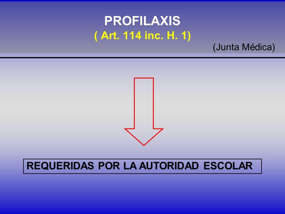 PROFILAXIS ( Art. 114 inc. H. 1) REQUERIDAS POR LA AUTORIDAD ESCOLAR