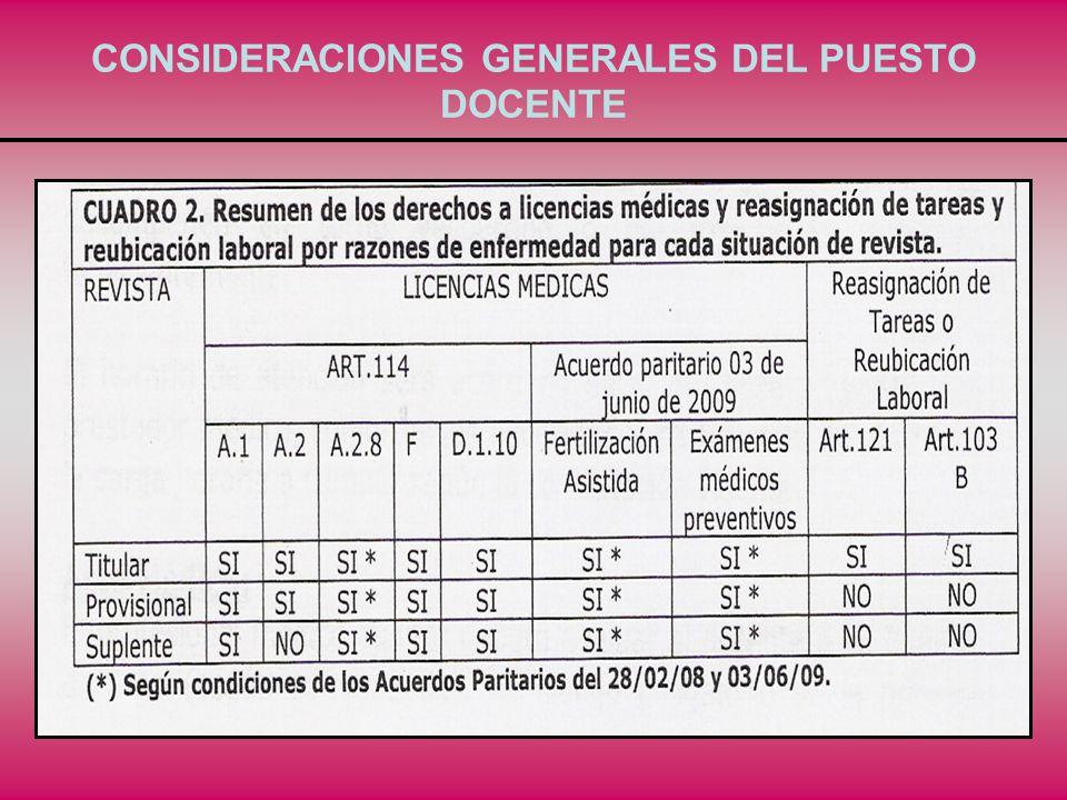 CONSIDERACIONES GENERALES DEL PUESTO DOCENTE