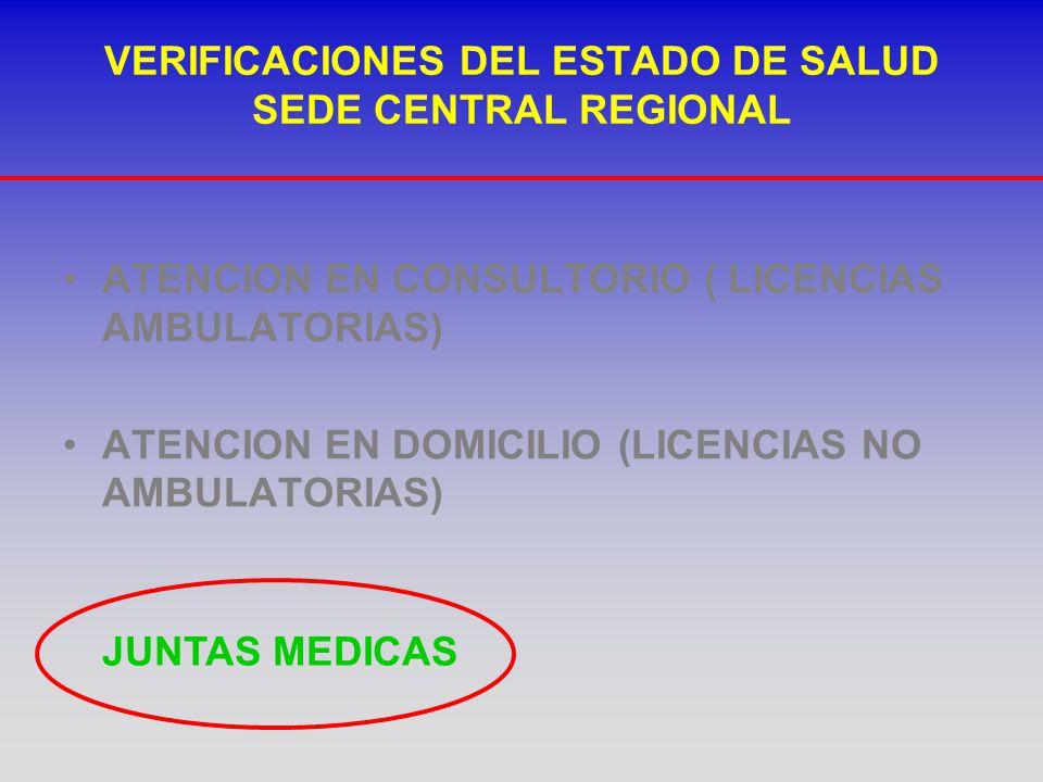 VERIFICACIONES DEL ESTADO DE SALUD SEDE CENTRAL REGIONAL