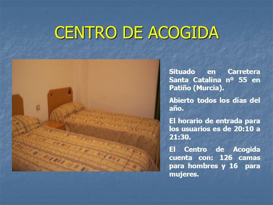 CENTRO DE ACOGIDASituado en Carretera Santa Catalina nº 55 en Patiño (Murcia). Abierto todos los días del año.
