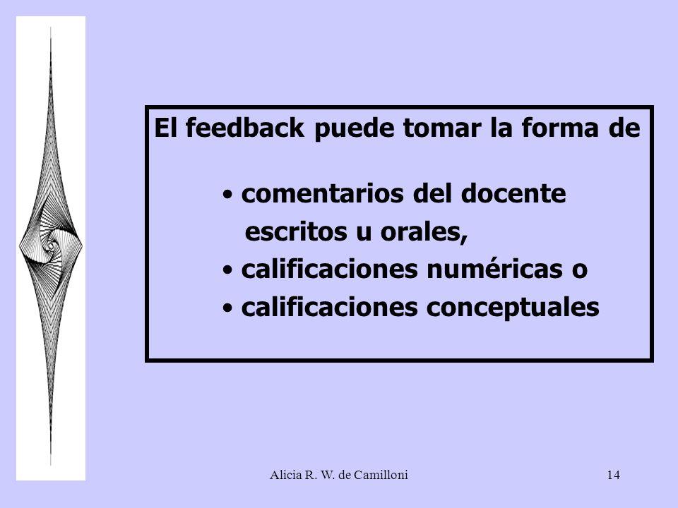 El feedback puede tomar la forma de comentarios del docente
