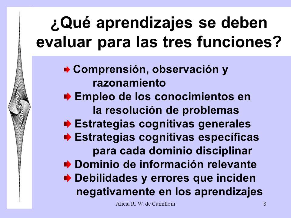 ¿Qué aprendizajes se deben evaluar para las tres funciones