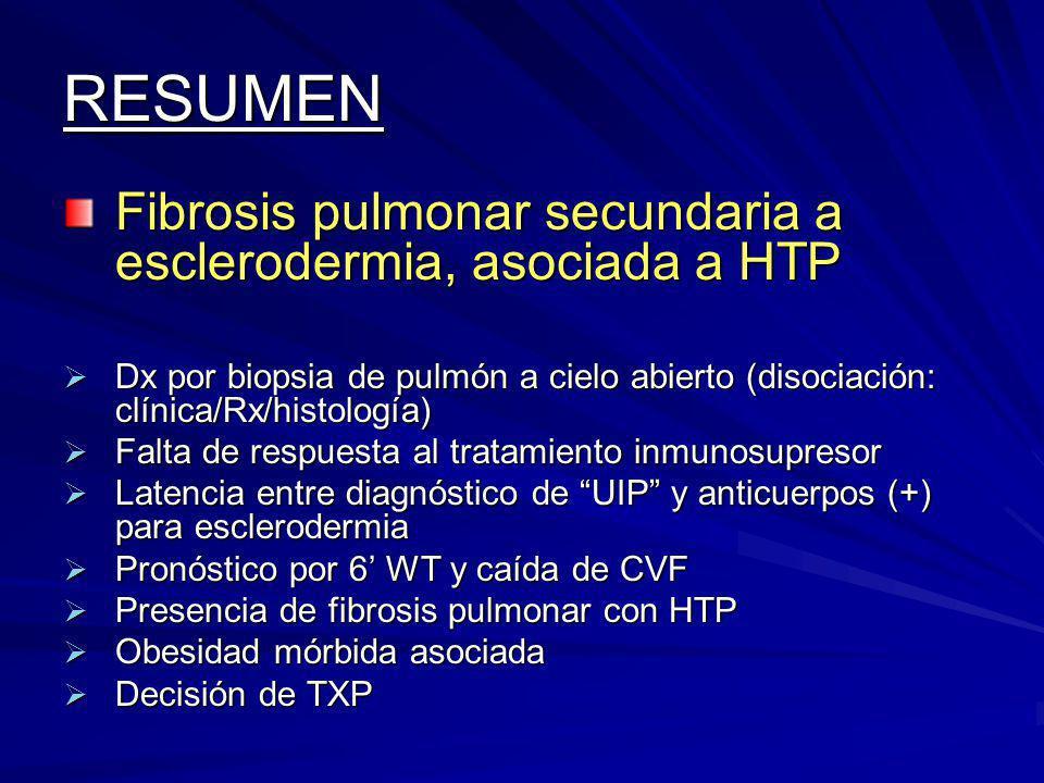 RESUMEN Fibrosis pulmonar secundaria a esclerodermia, asociada a HTP