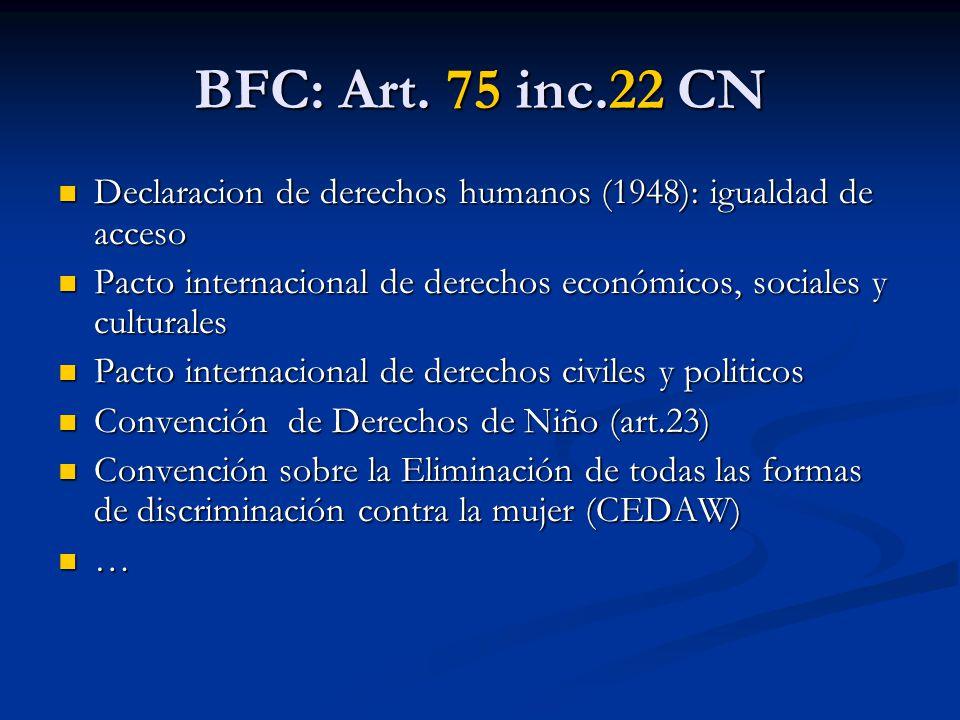 BFC: Art. 75 inc.22 CN Declaracion de derechos humanos (1948): igualdad de acceso. Pacto internacional de derechos económicos, sociales y culturales.