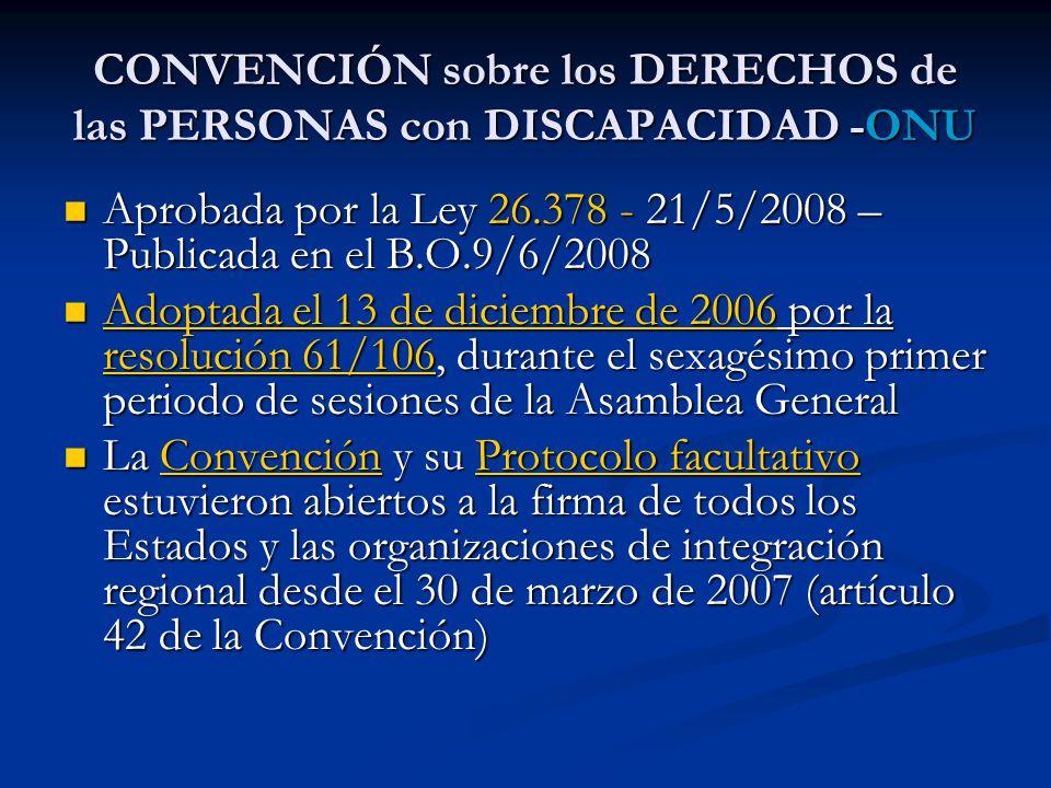 CONVENCIÓN sobre los DERECHOS de las PERSONAS con DISCAPACIDAD -ONU
