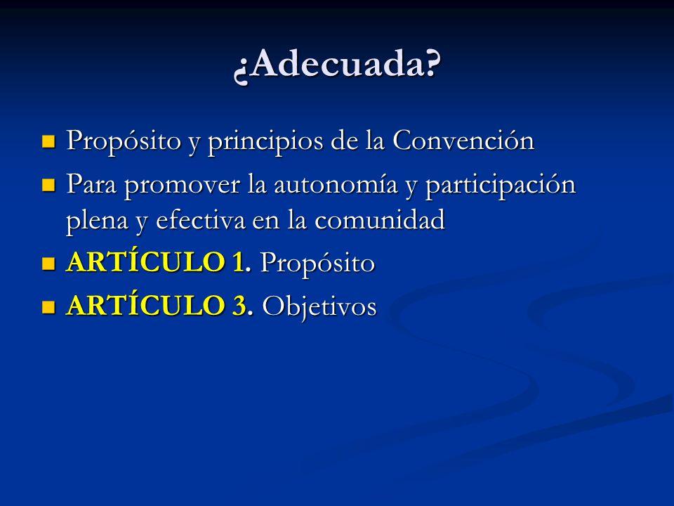 ¿Adecuada Propósito y principios de la Convención