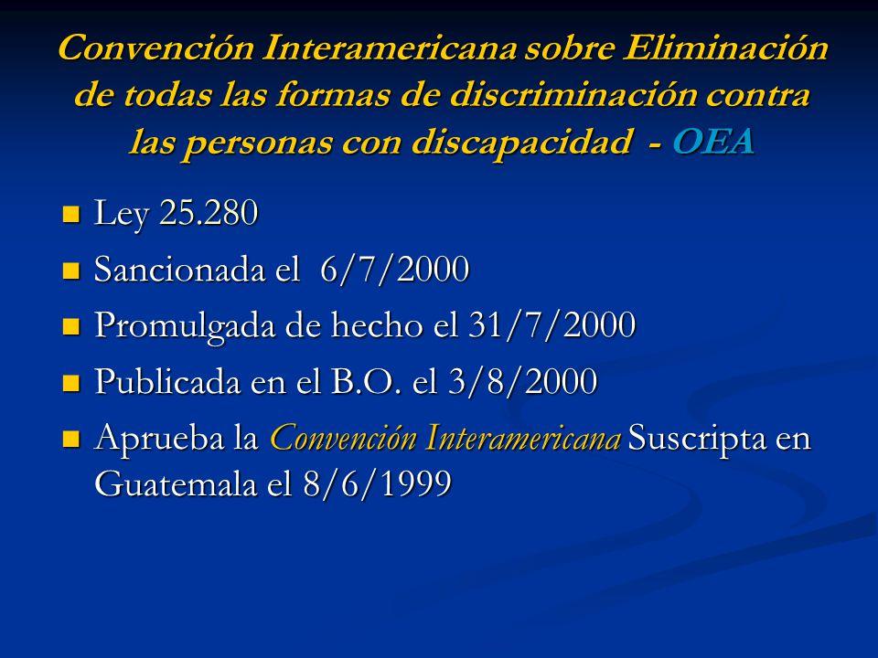 Convención Interamericana sobre Eliminación de todas las formas de discriminación contra las personas con discapacidad - OEA