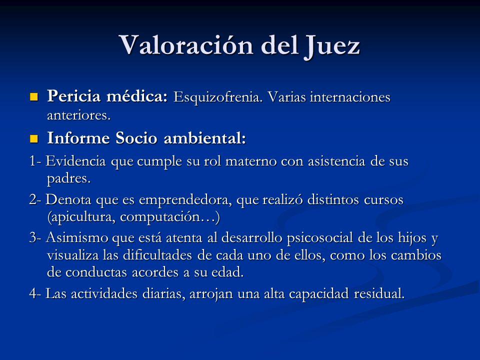 Valoración del Juez Pericia médica: Esquizofrenia. Varias internaciones anteriores. Informe Socio ambiental: