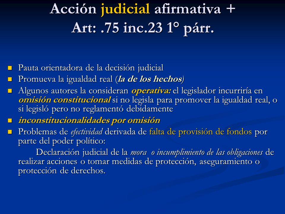 Acción judicial afirmativa + Art: .75 inc.23 1° párr.