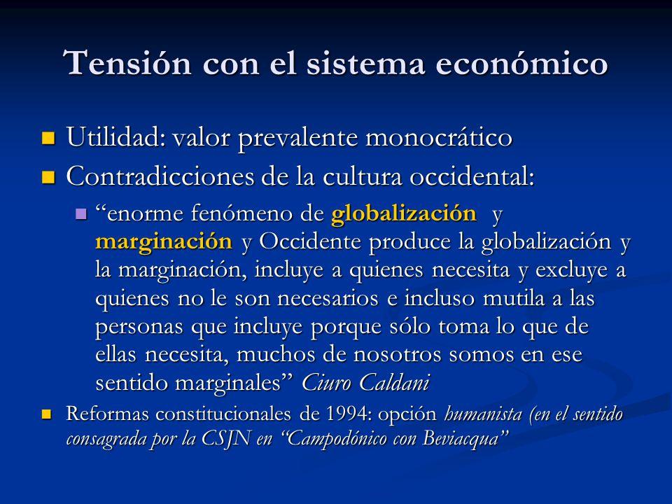 Tensión con el sistema económico