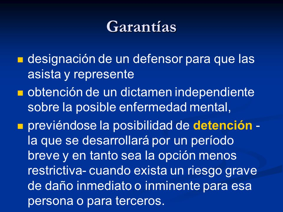 Garantías designación de un defensor para que las asista y represente