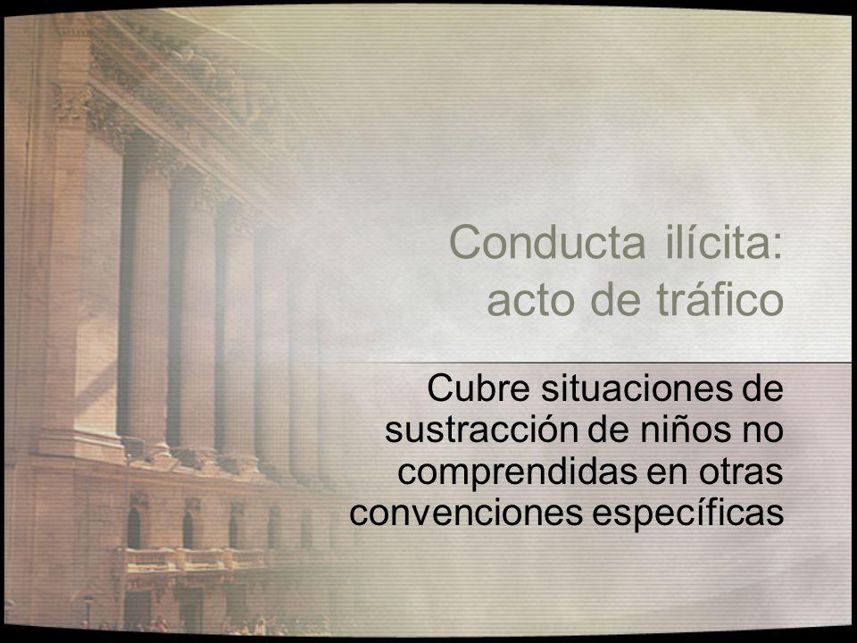 Conducta ilícita: acto de tráfico