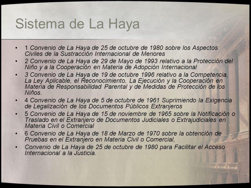 Sistema de La Haya 1 Convenio de La Haya de 25 de octubre de 1980 sobre los Aspectos Civiles de la Sustracción Internacional de Menores.